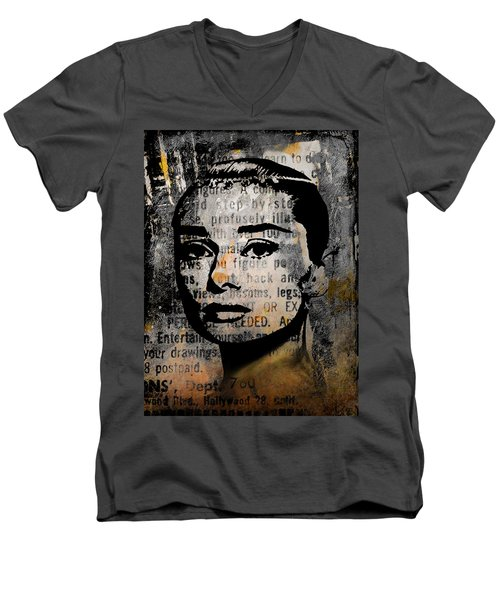 Men's V-Neck T-Shirt featuring the mixed media Audrey Hepburn #2 by Kim Gauge
