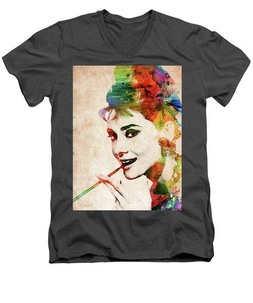 Audrey Hepburn Colorful Portrait Men's V-Neck T-Shirt