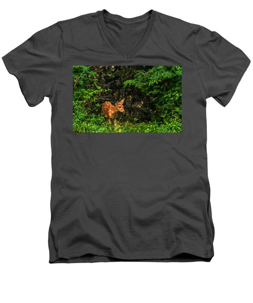 Men's V-Neck T-Shirt featuring the photograph August Fawn by Trey Foerster