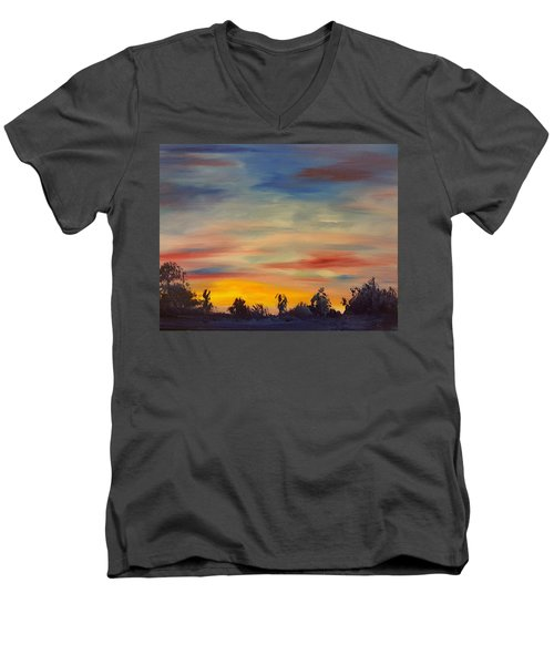 August Sunset In Sw Montana Men's V-Neck T-Shirt