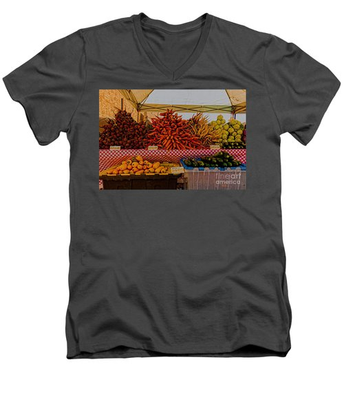 Men's V-Neck T-Shirt featuring the photograph August Vegetables by Trey Foerster