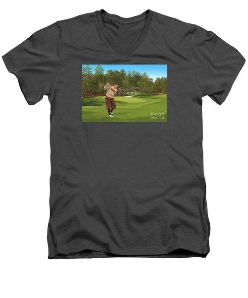 Augusta 11 And 12th Hole Bobbyjones Men's V-Neck T-Shirt by Tim Gilliland