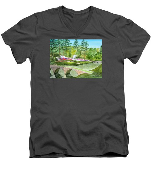 Men's V-Neck T-Shirt featuring the painting Augusta National Golf Course 12th Hole by Bill Holkham