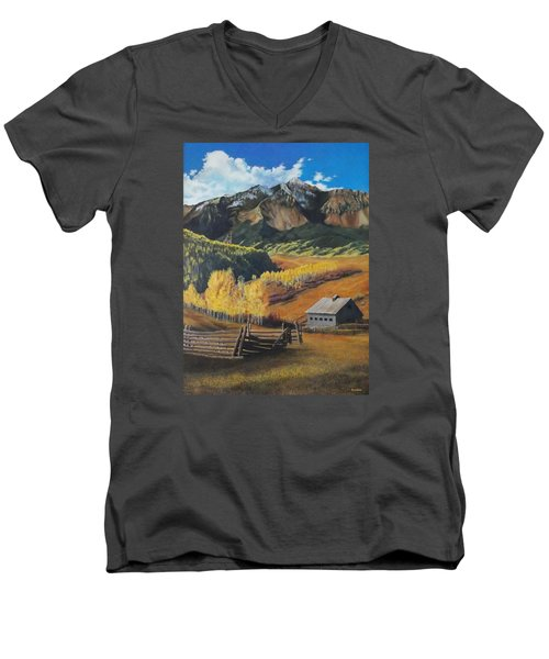 Autumn Nostalgia Wilson Peak Colorado Men's V-Neck T-Shirt by Anastasia Savage Ealy