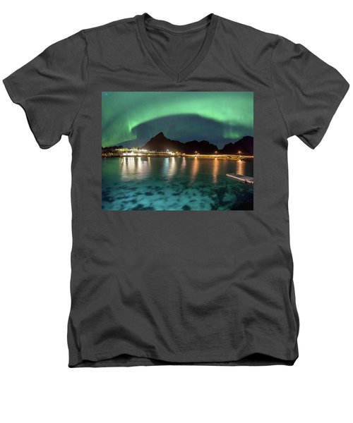 Aurora Above Turquoise Waters Men's V-Neck T-Shirt by Alex Conu