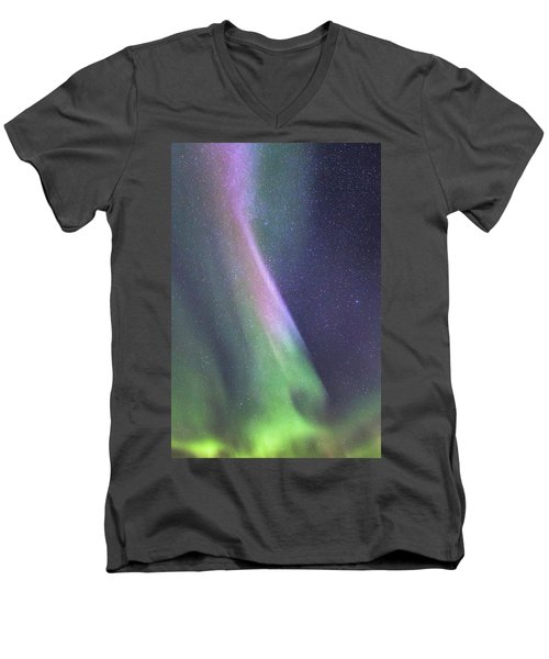 Men's V-Neck T-Shirt featuring the photograph Aurora Abstract by Hitendra SINKAR