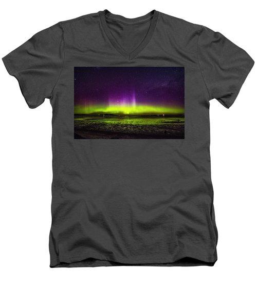Men's V-Neck T-Shirt featuring the photograph Aurora Australis by Odille Esmonde-Morgan