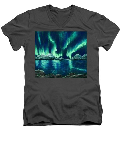 Men's V-Neck T-Shirt featuring the pastel Aurora Borealis by Anastasiya Malakhova