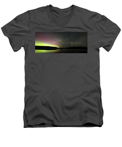 Aurora Borealis And Milky Way Over Yellowstone River Men's V-Neck T-Shirt