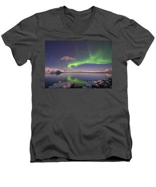 Men's V-Neck T-Shirt featuring the photograph Aurora Borealis And Reflection #2 by Wanda Krack