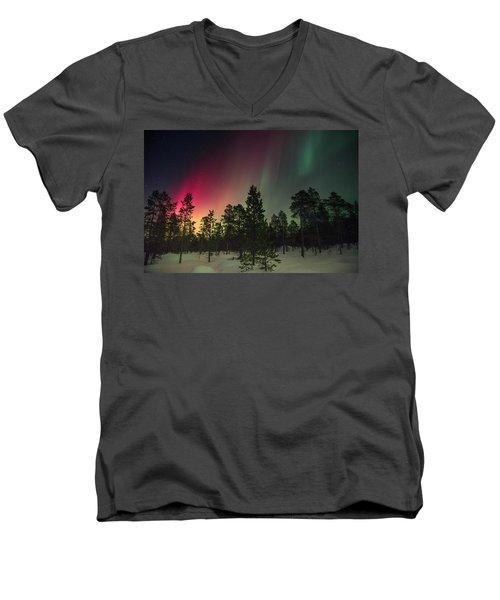 Aurora Borealis Men's V-Neck T-Shirt by Thomas M Pikolin
