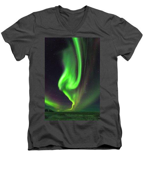 Men's V-Neck T-Shirt featuring the photograph Aurora Burst by Allen Biedrzycki