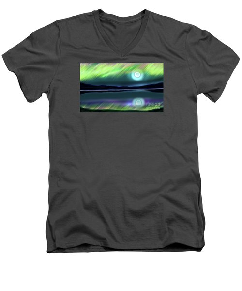 Aurora Moon Lake Men's V-Neck T-Shirt by Patricia L Davidson