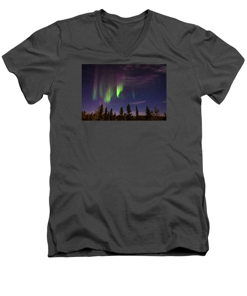 Aurora Nights Men's V-Neck T-Shirt by Serge Skiba