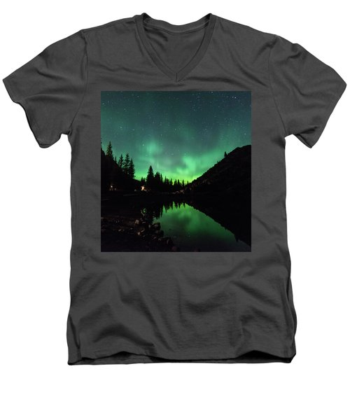 Aurora On Moraine Lake Men's V-Neck T-Shirt
