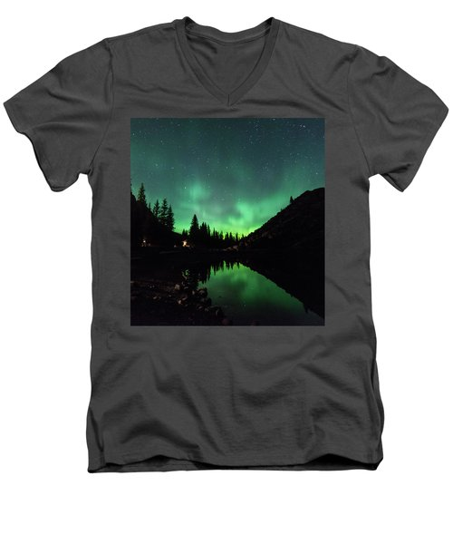 Aurora On Moraine Lake Men's V-Neck T-Shirt