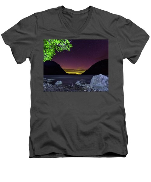 Aurora Over Lake Willoughby Men's V-Neck T-Shirt by Tim Kirchoff