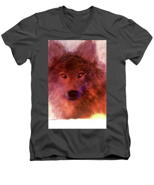 Men's V-Neck T-Shirt featuring the painting Aurora Rising by FeatherStone Studio Julie A Miller
