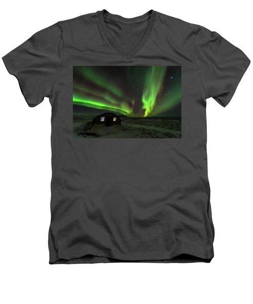 Men's V-Neck T-Shirt featuring the photograph Aurora Storm by Allen Biedrzycki