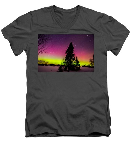 Aurora With Spruce Tree Men's V-Neck T-Shirt by Tim Kirchoff