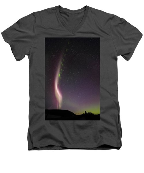 Auroral Phenomonen Known As Steve With A Large Meteor Men's V-Neck T-Shirt