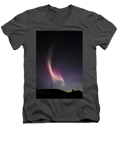 Auroral Phenomonen Knows As Steve, 4 Men's V-Neck T-Shirt