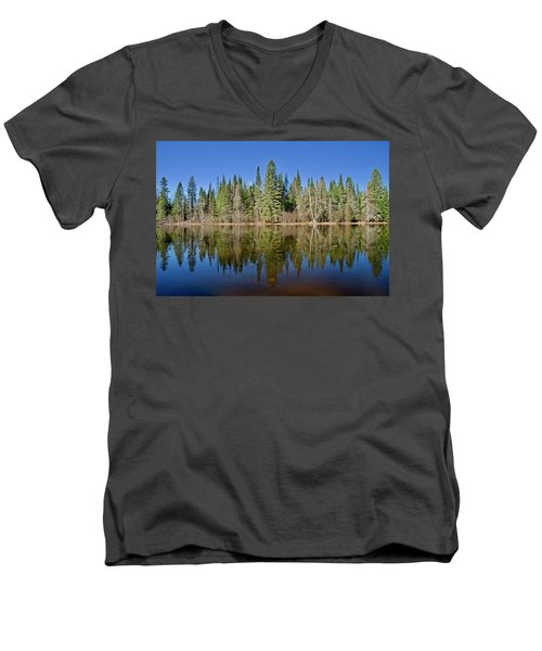 Ausable Reflections 1768 Men's V-Neck T-Shirt by Michael Peychich