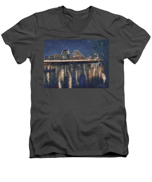 Men's V-Neck T-Shirt featuring the painting Austin At Night by Felipe Adan Lerma