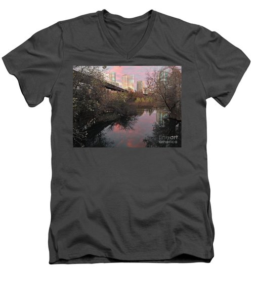 Austin Hike And Bike Trail - Train Trestle 1 Sunset Triptych Right Men's V-Neck T-Shirt by Felipe Adan Lerma