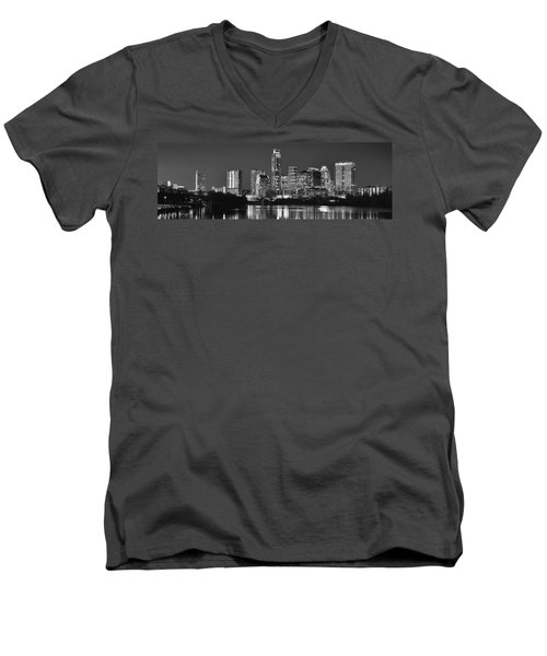 Austin Skyline At Night Black And White Bw Panorama Texas Men's V-Neck T-Shirt by Jon Holiday