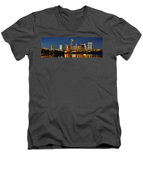 Austin Skyline At Night Color Panorama Texas Men's V-Neck T-Shirt by Jon Holiday