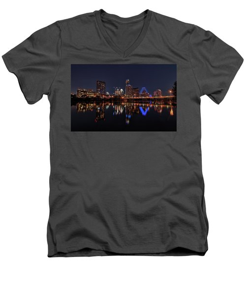 Austin Skyline At Night Men's V-Neck T-Shirt by Todd Aaron