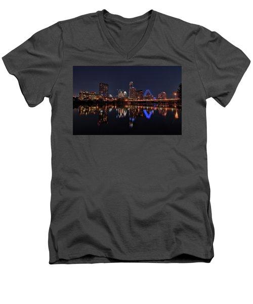 Austin Skyline At Night Men's V-Neck T-Shirt