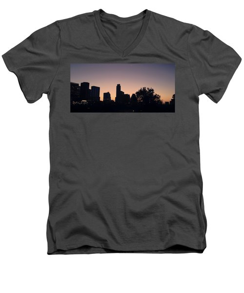 Austin Skyline Sunrise Into A Crescent Moon Panorma Men's V-Neck T-Shirt