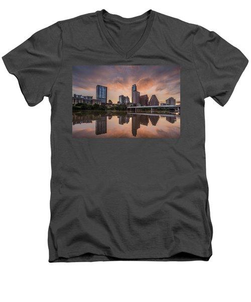 Austin Skyline Sunrise Reflection Men's V-Neck T-Shirt
