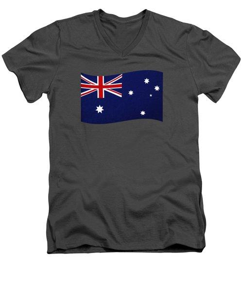Australian Flag Waving Png By Kaye Menner Men's V-Neck T-Shirt by Kaye Menner