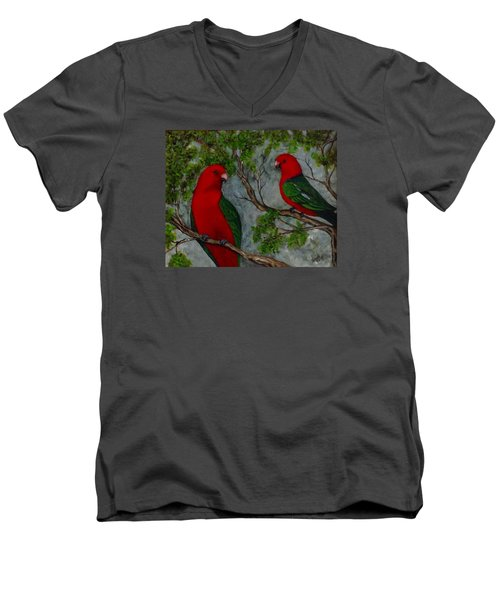 Men's V-Neck T-Shirt featuring the painting Australian King Parrot by Renate Voigt
