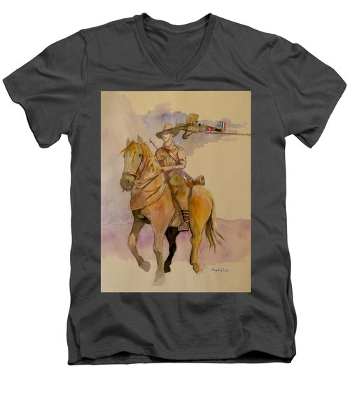 Men's V-Neck T-Shirt featuring the painting Australian Light Horse Regiment. by Ray Agius