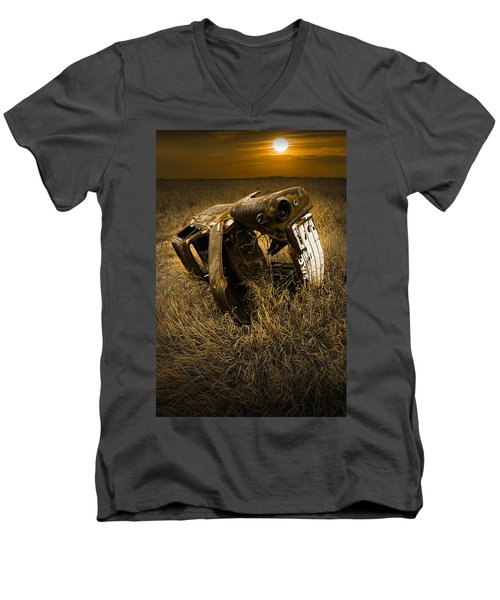 Auto Wreck In A Grassy Field On The Prairie At Sunset Men's V-Neck T-Shirt