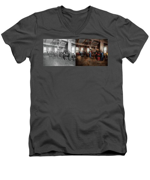 Men's V-Neck T-Shirt featuring the photograph Autobody - The Bodyshop 1916 - Side By Side by Mike Savad