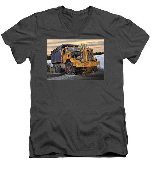 Autocar Dumptruck Men's V-Neck T-Shirt by Stuart Swartz