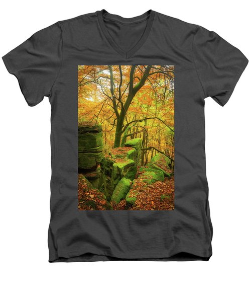 Men's V-Neck T-Shirt featuring the photograph Automnal Glow by Maciej Markiewicz