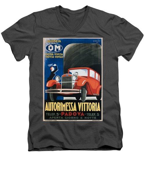 Autorimessa Vittoria  Art Deco Poster Men's V-Neck T-Shirt