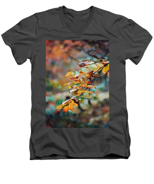 Men's V-Neck T-Shirt featuring the photograph Autumn Aesthetics by Parker Cunningham