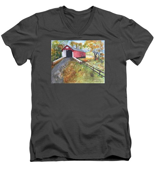 Autumn Afternoon At Knechts Covered Bridge Men's V-Neck T-Shirt by Lucia Grilletto