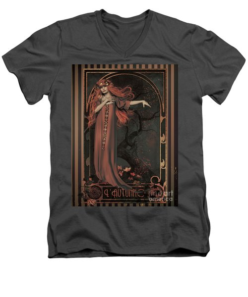 Men's V-Neck T-Shirt featuring the digital art Autumn Art Nouveau  by Shanina Conway