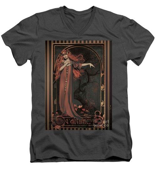 Autumn Art Nouveau  Men's V-Neck T-Shirt