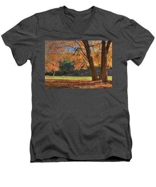 Men's V-Neck T-Shirt featuring the photograph Autumn At Lykens Glen by Lori Deiter