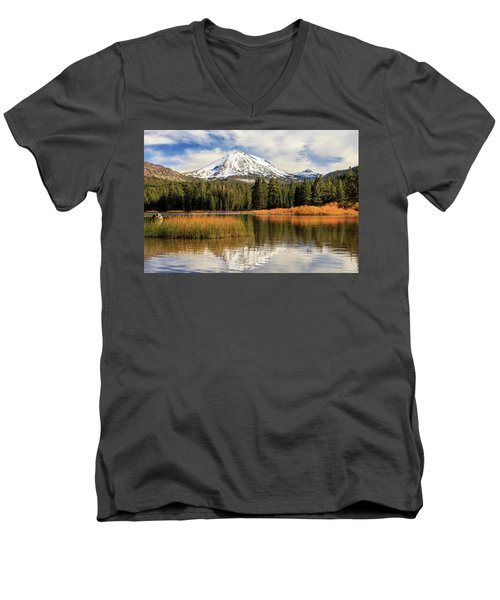 Men's V-Neck T-Shirt featuring the photograph Autumn At Mount Lassen by James Eddy