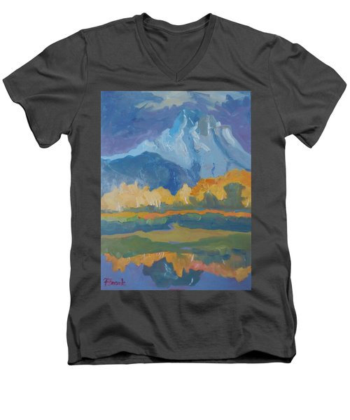 Men's V-Neck T-Shirt featuring the painting Autumn At Mt. Moran by Francine Frank